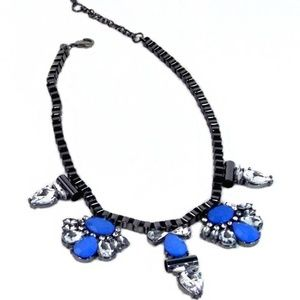 Black Link Chain Blue Stones Frontal Necklace